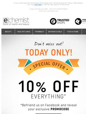 Today only!! Special Offer - 10% OFF EVERYTHING!! - Don't miss out! Shop now!