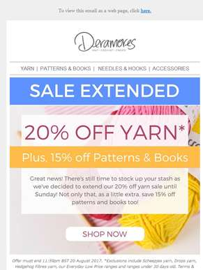 Save Until Sunday! 20% Off Yarn Extended PLUS a Little Extra...