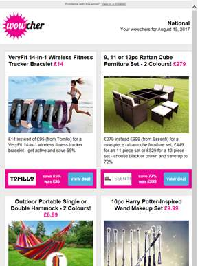 14-in-1 Fitness Tracker £14 | 9pc Rattan Furniture Set £279 | Outdoor Portable Hammock £6.99 | Harry