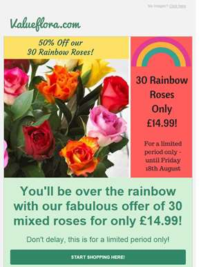 50% OFF our 30 Rainbow Roses - now only £14.99