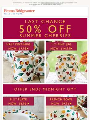 Hurry! 50% Off Summer Cherries Ends Midnight