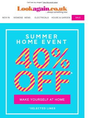 40% Off Selected Homeware!
