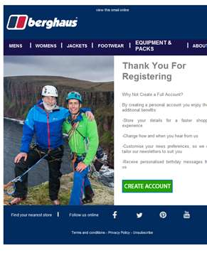 Thank You For Registering - Berghaus