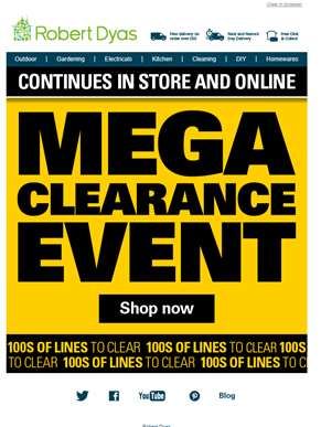 MEGA CLEARANCE continues in store and online