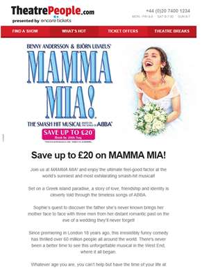 ? Flash Sale | Up to £20 off MAMMA MIA!