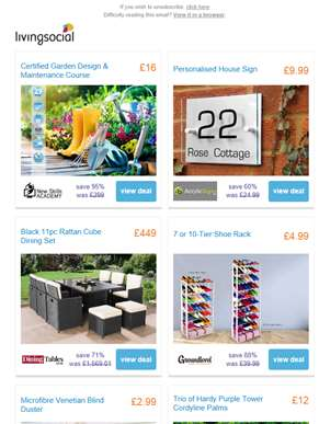Garden Design & Maintenance Course £16 | Personalised House Sign £9.99 | 11pc Rattan Furniture Set £