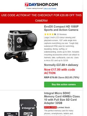 GET £20 OFF 1080p Action Cameras with code ACTION - Save 78% - Plus Great Deals On USB Desk Fans, Me