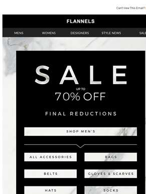 Final Reductions | Up To 70% Off Sale