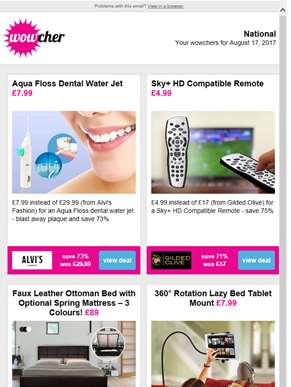Dental Water Jet £7.99 | Sky+ HD Compatible Remote £4.99 | Ottoman Storage Bed £89 | 360 Tablet Moun