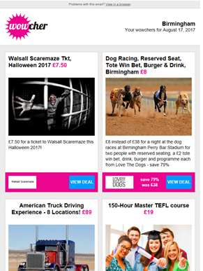 Walsall Scaremaze Tkt £7.50  | Dog Racing, Burger & Drink for 2 £8 | American Truck Driving Experien