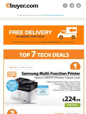 Hi  - Samsung Multi-Function Wireless Colour Laser Printer - Only £224.99 + Free multi-pack of toner