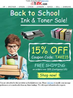 Back To School Sale -15% off your printer ink