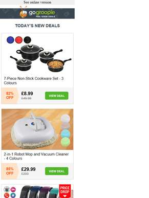 7pc Non Stick Cookware Set £8.99 | 2 in 1 Robot Vacuum & Mop £29.99 | 12 in 1 Smart Fitness Tracker