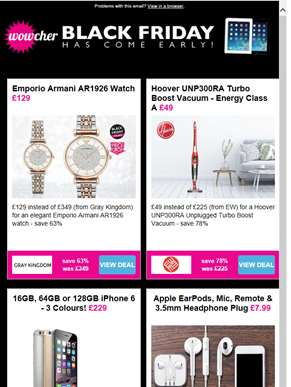 Emporio Armani Watch £129 | Hoover Cordless Turbo LED Vacuum £49 | 16GB iPhone 6 £229 | Apple EarPod