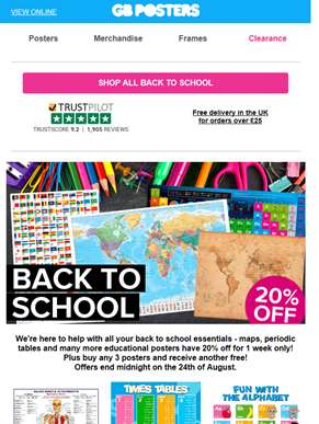 Back to school essentials - 20% off for 1 week only!