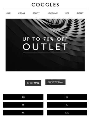 OUTLET | Shop by size with up to 70% off