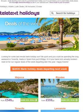 ? Last minute bank hol deals alert ?