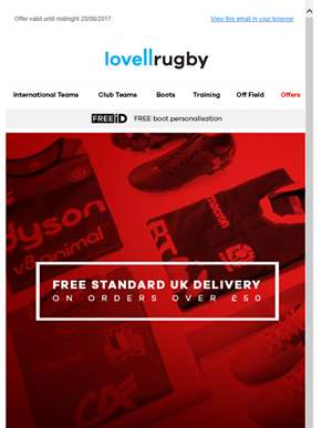FREE STANDARD UK DELIVERY on all orders over £50!