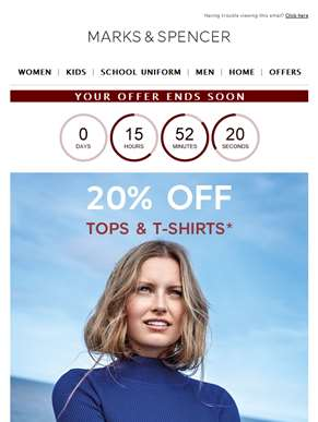 Ends today: 20% off tops, T-shirts and kids school shoes
