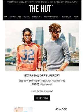 30% off Superdry | 25% off Elizabeth Arden | 20% off DKNY and more