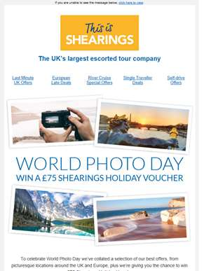 Our Top Offers from just £104pp | WIN a £75 holiday voucher in our World Photo Day Competition ??