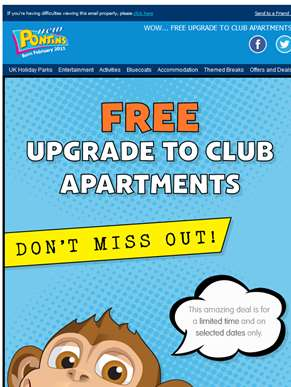WOW... FREE Upgrade to Club Apartments | 4 Night Break from £59 per apt