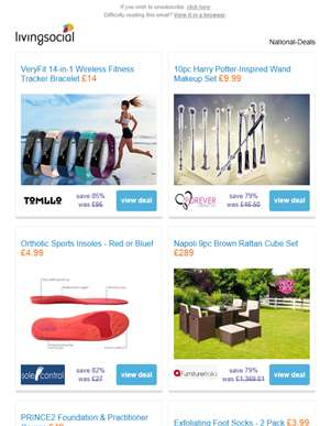 Deals for you: 14-in-1 Fitness Tracker £14 | Harry Potter-Inspired Wand Makeup Set £9.99 | Orthotic