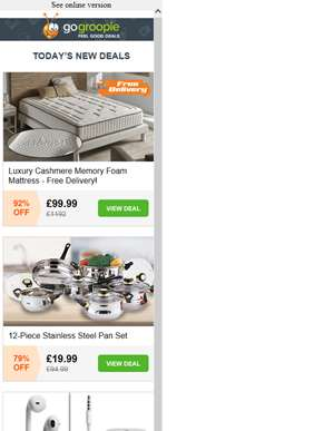 Cashmere Memory Foam Mattress inc Delivery £99.99 | 12pc Stainless Steel Pan Set £19.99 | Official A