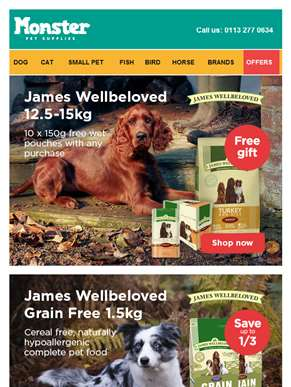 Shop great offers from our pals at James Wellbeloved for your furry friend ????