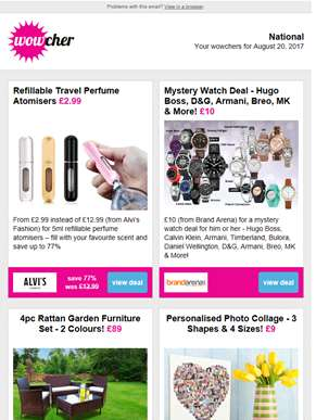 Refillable Travel Perfume Atomiser £2.99 | Mystery Watch Deal £10 | 4pc Rattan Furniture Set £89 | P