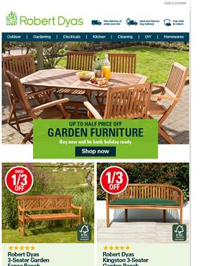 Up to ½ price garden furniture