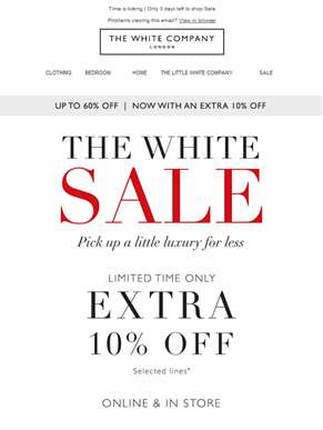 Sale on sale: up to 60% off (plus an extra 10% off)