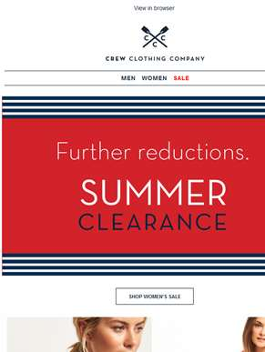 Summer clearance. Up to 50% off.