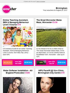 SEN Teaching Course £19 | The Great Worcester Maize Maze £3.50 | Water Softener Installation £549 |
