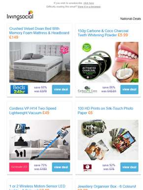 Deals for you: Crushed Velvet Divan Bed £149 | Charcoal Teeth Whitening Powder £5.99 | Cordless Rech