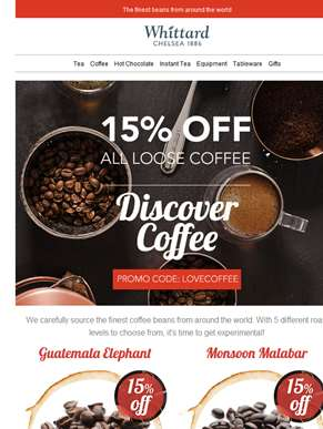 15% off ALL loose coffee... tempted?