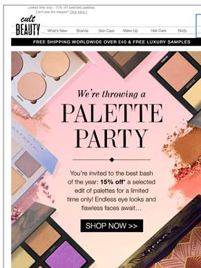 It's a palette party! 15% off selected palettes