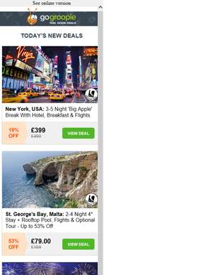 3 Nights in New York inc Hotel & Flights £399 | 2 Night 4* Malta Break with Rooftop Pool £79 - Save