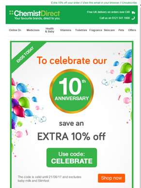 Join the celebrations & save an EXTRA 10% off ????