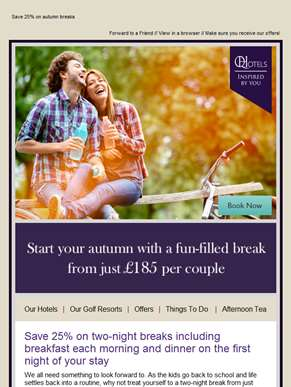 Autumn two-night breaks from just £185 per couple!