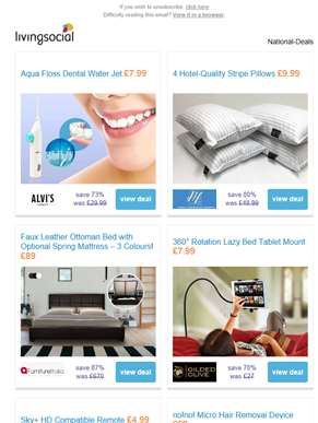 Deals for you: Dental Water Jet £7.99 | 4 Hotel-Quality Pillows £9.99 | Ottoman Storage Bed £89 | 36