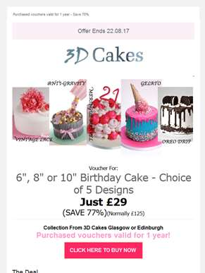 ?? Amazing Birthday Cakes From £29 ??  1 Day Only Flash Promotion (WOW SAVE 77%) - Purchased voucher