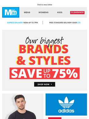 Save up to 75% off big brand styles!