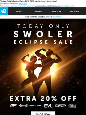 ?? Look directly at an EXTRA 20% off  - Swoler Eclipse Sale!