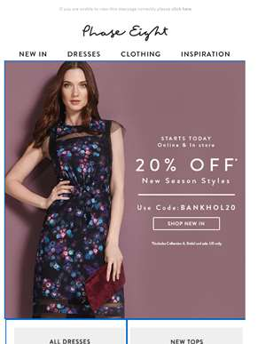 Starts today: Enjoy 20% off… Just in time for the Bank Holiday