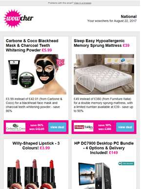 Carbone & Coco Blackhead Mask & Teeth Whitener £5.99 | Memory Sprung Mattress £39 | Willy-Shaped Lip