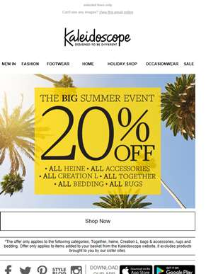 Don't Miss Out!  20% Off Our Big Summer Event
