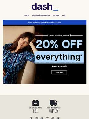 Hurry — 20% OFF EVERYTHING — starts now