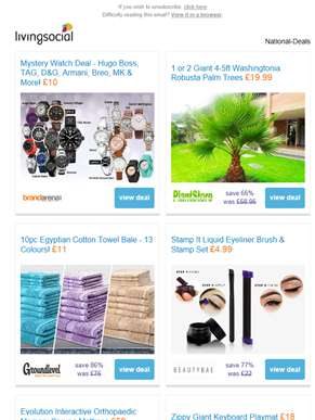 Deals for you: Mystery Watch Deal £10 | Giant Palm Tree £19.99 | Egyptian Towel Bundle £11 | Stamp I