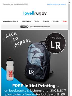 Get ready to go back to school with Lovell Rugby.